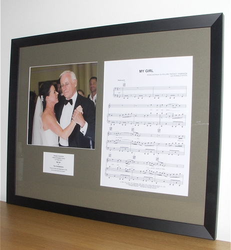 Framed vinyl records and sheet music. A perfect gift for music lovers.