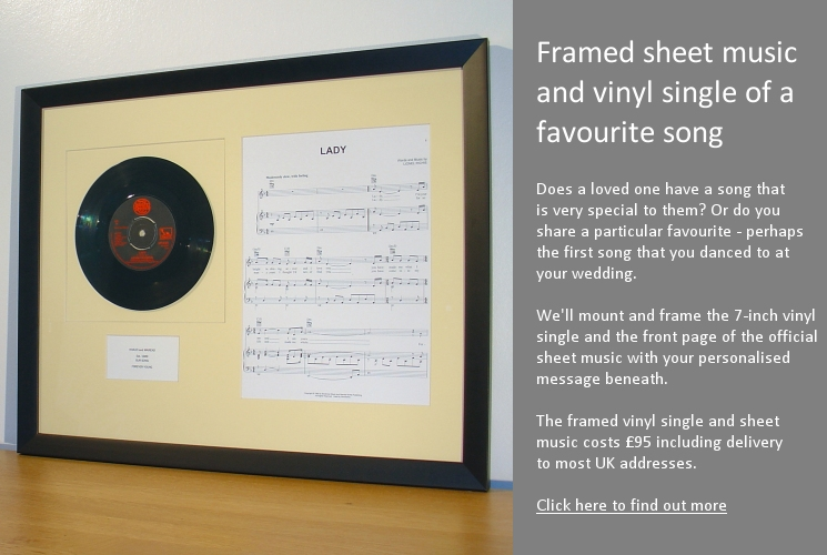 Framed vinyl single with sheet music
