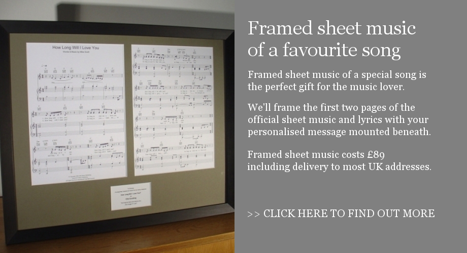 Framed sheet music of your favourite song