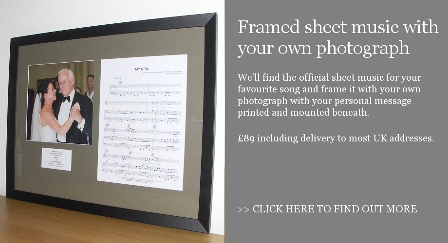 Sheet music framed with your own photograph