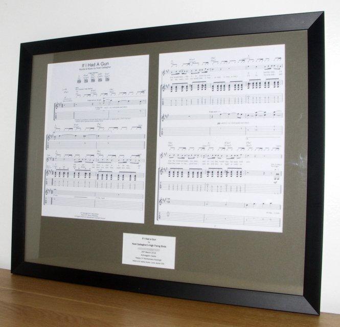 Noel Gallagher If I Had A Gun Framed Vinyl Amp Sheet Music