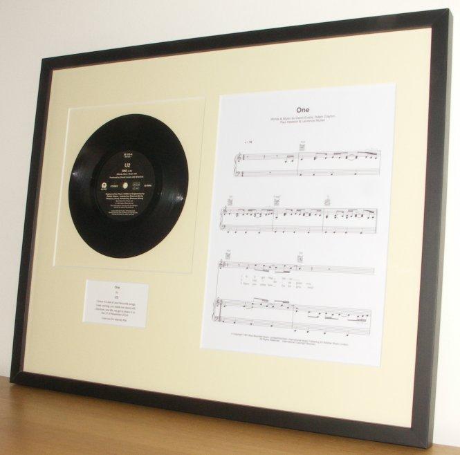 U2 One Framed Vinyl And Sheet Music