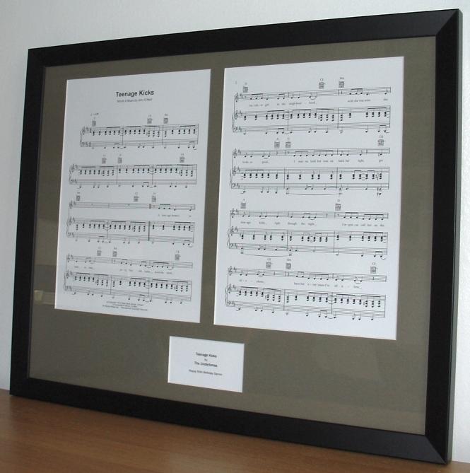 The Undertones Teenage Kicks Framed Sheet Music